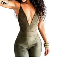 New Autumn Winter style jumpsuit 2016 deep V neck Women sexy cross back strappy bodysuit overall bandage backless Jumpsuit green
