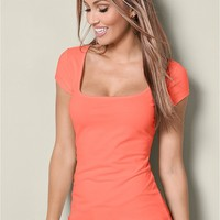 Square Neck Top in Coral | VENUS