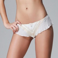 ONETOW Hot Sale 2017 Fashion Women White Chiffon Sexy Panties Summer Style Plus Size Low Waist Ruffles Boyshorts Boxer Briefs Lingerie