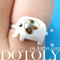 Adjustable Elephant Animal Ring in Silver with Gold Heart Shaped Ears from Dotoly Love