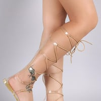 Bamboo Jelly Knee High Lace Up Gladiator Sandal