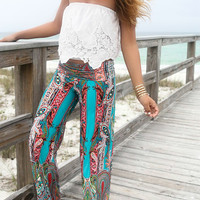 Keeping It Cool Aqua And Red Tribal Print Palazzo Pants