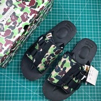 A Bathing Ape X Suicoke Kaw-vs Bape Camo Green Black Sandals - Best Online Sale
