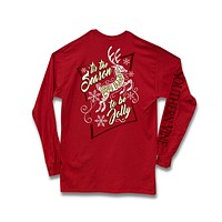 Southern Vine Tis the Season to be Jolly Happy Holidays Christmas Girlie Long Sleeve Bright T-Shirt