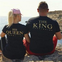 Plus XXXL Size Lovers The King His Queen Back Printed Tee shirts Harajuku Couple Hipster T shirt Tops 1