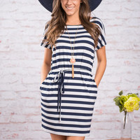 Maritime Of Your Life Piko Dress, Navy