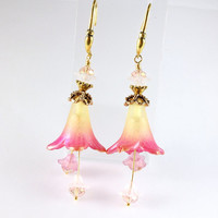 Lucite Flower Earrings, Gold Edged Pink and Yellow, Flowers for Valentines