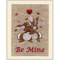Embroidered Linen Valentines Day Greeting Card