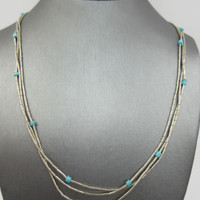 Vintage Native American 3 Strand Liquid Sterling Silver Turquoise bead Necklace