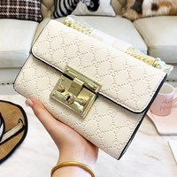 Gucci Classic Popular Women Pure Color Leather Metal Chain Shoulder Bag Satchel Crossbody