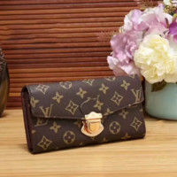 LV Louis Vuitton Fashion Women Shopping Leather Buckle Wallet Purse Coffee Print