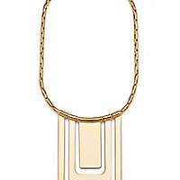 DVF Large Geometric Status Frontal Gold Necklace