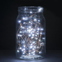 New String Lights, 2 Set of Micro 30 LEDs Super Bright Warm White Color Wire Rope Lights Battery Operated on 9.8 Ft Long Copper Color Ultra Thin String Copper Wire F Home Bedroom Party Tree