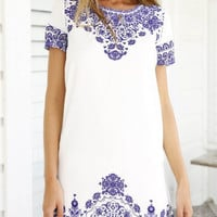Blue And White Short Sleeve Paisley Print Mini Dress