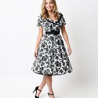 Hell Bunny 1950s Style Black & White Floral Button Up Honor Swing Dress