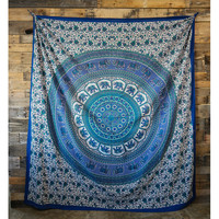Blue Floral Elephant Wall Tapestry