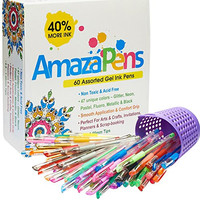 AmazaPens Gel Pens - 60 Value Pack, 40% More Ink than Other Sets, Top Quality Coloring Pens for Adult Coloring Books, 47 Unique Colors, Best Gift - Includes Glitter, Neon, Pastel, Flouro & Metallic