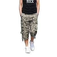 2017 Men Short pants Masculino Camouflage Cargo Military Calf-Length Pants Mens Homme Outwear Cotton Loose Army Short trousers