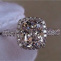 Brand Jewelry Womens White Sapphire 925 Silver Filled Wedding Ring [7982889351]