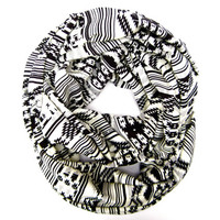 Aztec Infinity Geometric Double Loop Scarf Teen Tube Scarf Black Winter White Grey Trendy Tribal Circle Scarf Womens Teens Fashion Scarves