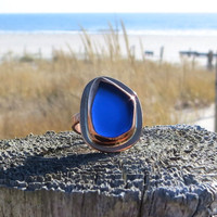 Sea Glass Copper Ring Sea Sapphire Cobalt Blue by Wave of Life