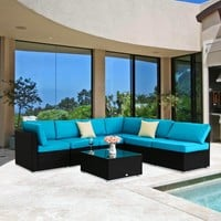 7PC Cushioned Rattan Patio Furniture Set Sectional Garden Couch Outdoor Indoor