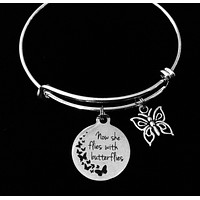 Now She Flies With Butterflies Adjustable Charm Bracelet Expandable Silver Bangle Inspirational One Size Fits All Gift