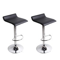 Furnistar Karlsborg Black and Chrome Swivel Bar Stools (Set of two)