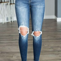 LMFVA6 Kan Can Medium Distressed Knee Jean