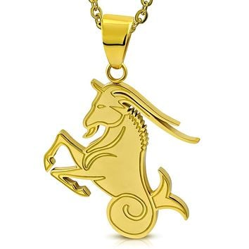 Golden tone Stainless Steel Sea-Goat Capricorn Zodiac Pendant with Chain
