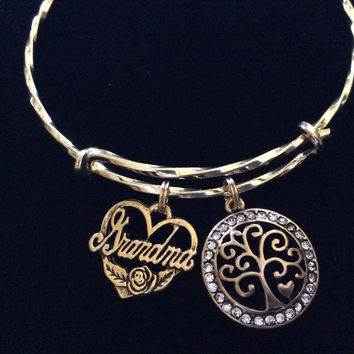 Grandma Filigree Tree of Life Twisted Gold Expandable Charm Bracelet Gift Adjustable Stacking Trendy