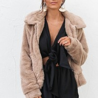 SZ XS Much Sweeter Tan Faux Fur Zip Up Jacket