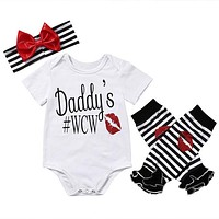 3Pc Newborn Baby Girl kids clothing sets suit Daddy  Romper Jumpsuit Headband Outfit Clothes