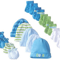 Gerber Baby Newborn Cars 15 Piece Socks Caps and Mittens Essential Gift Set for Boys