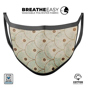 Aged Aqua SemiCircles with Polka Dots - Made in USA Mouth Cover Unisex Anti-Dust Cotton Blend Reusable & Washable Face Mask with Adjustable Sizing for Adult or Child
