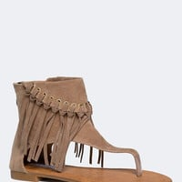 COVERED ANKLE FRINGE SANDAL