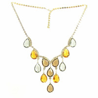 Faceted Teardrop Glass Rhinestone Necklace
