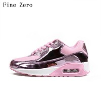 2017 Glossy Men Air Mesh Trainers Breath Basket Femme Patent Leather Footwear Tenis Feminino Zapatillas Mujer Zapatos Hombre