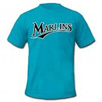FLORIDA MARLINS Majestic 100% COTTON CREW NECK CLASSIC TEAL Officially Licensed MLB Baseball SHIRT SIZE-YOUTH SMALL