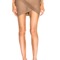 RtA Blossom Leather Skirt in Sand | FWRD