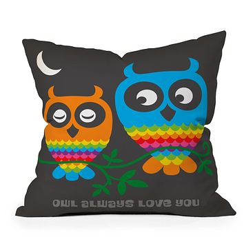 Anderson Design Group Rainbow Owls Throw Pillow