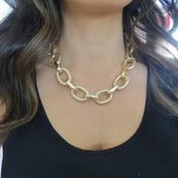 Thick and Chunky Textured Gold Chain Curb Necklace - Large link faux pave diamond cut Gold statement bib cuff choker necklace jewelry