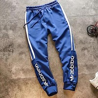 "Hot Sale ""Adidas"" Trending Women Men Stylish Print Drawstring Sport Pants Trousers Sweatpants Blue"