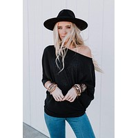 Make It Easy Waffle Knit Top - Black