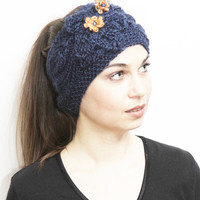 Knit Headband, Blue Headband with flowers, Knitted Hairband, Knit Earwarmer, royalblue, navy blue, Braidsmaid Gift by Solandia