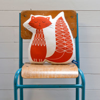 Hand Screen Printed Cat Pillow in Burnt Orange