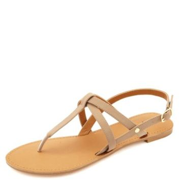 CRISSCROSSING STRAPPY THONG SANDALS