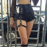 Men Women New fashion Harajuku Single Strap Clip Leather Punk Suspender Hook adjustable leg ring Handmade Sock Garter Unisex