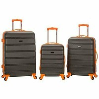 CHARCOAL Melbourne 3 Piece Hardside Luggage Set. Rockland F160