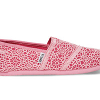 TOMS Pink Crochet Youth Classics Pink